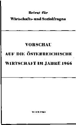 Vorschau auf die österreichische Wirtschaft im Jahre 1966