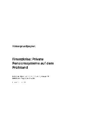 Finanzkrise: Private Pensionssysteme auf dem Prüfstand