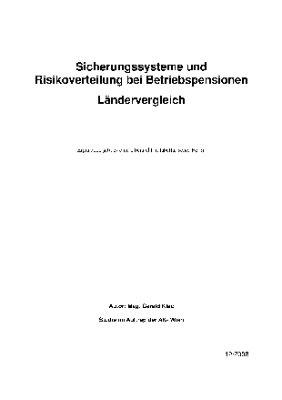 Sicherungssysteme und Risikoverteilung bei Betriebspensionen