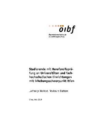 Studierende mit Berufsreifeprüfung an Universitäten und fachhochschulischen Einrichtungen mit Erhebungsschwerpunkt Wien