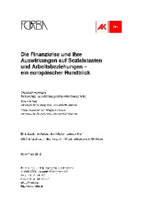 Die Finanzkrise und ihre Auswirkungen auf Sozialstaaten und Arbeitsbeziehungen