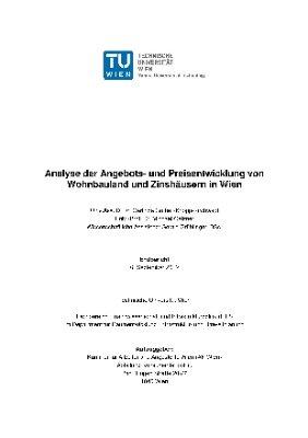 Analyse der Angebots- und Preisentwicklung von Wohnbauland und Zinshäusern in Wien