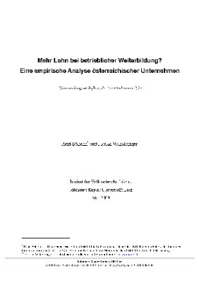 Mehr Lohn bei betrieblicher Weiterbildung? Eine empirische Analyse österreichischer Unternehmen