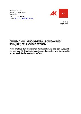 """Qualität von Kundeninformationsdokumenten (""""KID"""") bei Investmentfonds"""