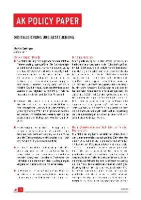 Digitalisierung und Besteuerung